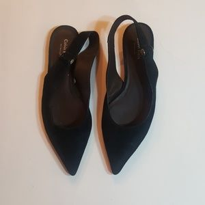 Flat suede slingback shoes